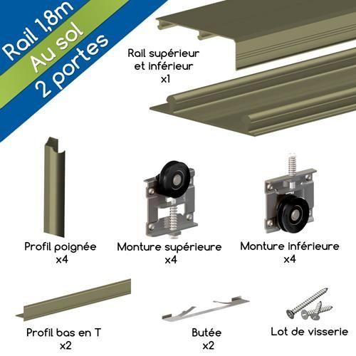 kit ares3 aluminium anodis bronze pour 2 portes de placard coulissantes 16 mm rail 1 - Rail De Porte De Placard