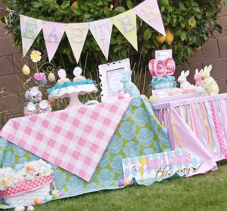 Such pretty colors and fabrics use in this Easter party display - Find more Easter Party Ideas at http://www.birthdayinabox.com/party-ideas/guides.asp?bgs=96