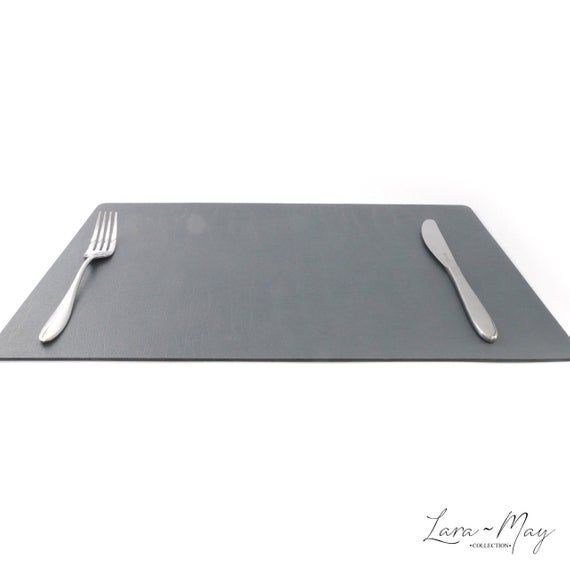Large Leather Place Mats Sets Of 6 Slate Grey Table Mats Made In The Uk Ideal Place Mat Gift Placematsets Greyplacemats Largeplacemat Grey Placemats Bonded Leather Bbq Table