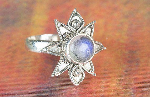 Moonstone Ring Star Shape Moonstone Ring Vintage Jewelry