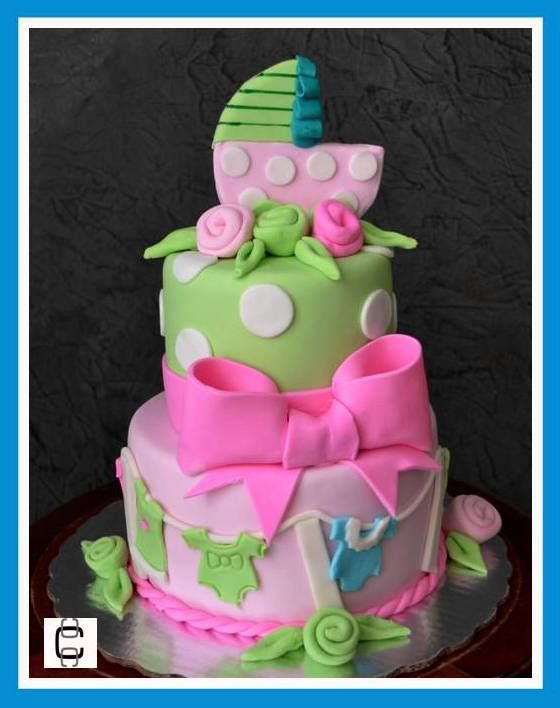 BABY CLOTH   BABY SHOWER FONDANT CAKE (Pastel Para Baby Shower, Decoración  Ropa De
