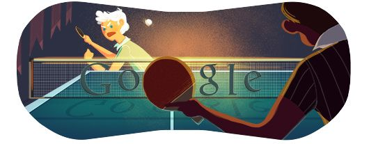 A Google Doodle celebrating table tennis on day six of the London 2012 Olympics