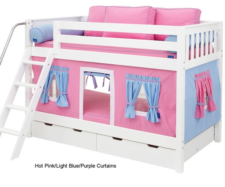 Bunk Bed Curtains Pink, Light Blue & Purple