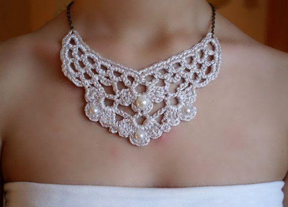 Collar boda, collar crochet, collar novia, collar Victoriano, gargantilla plata, colgante crochet, collar corto, steampunk, Victoriano