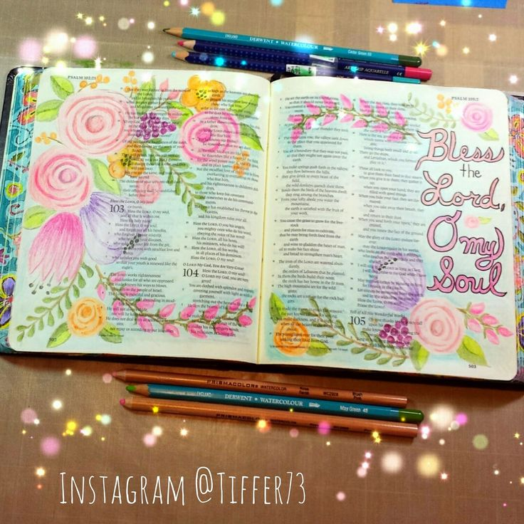 Tiffany's Garden Paper Crafts, Digital Stamps, Hand Made Cards, Country Living: Psalms 103 Bless the Lord, O my Soul - Bible Journaling with colored pencils
