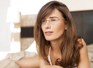silhouette angle rimless glasses show off makeup
