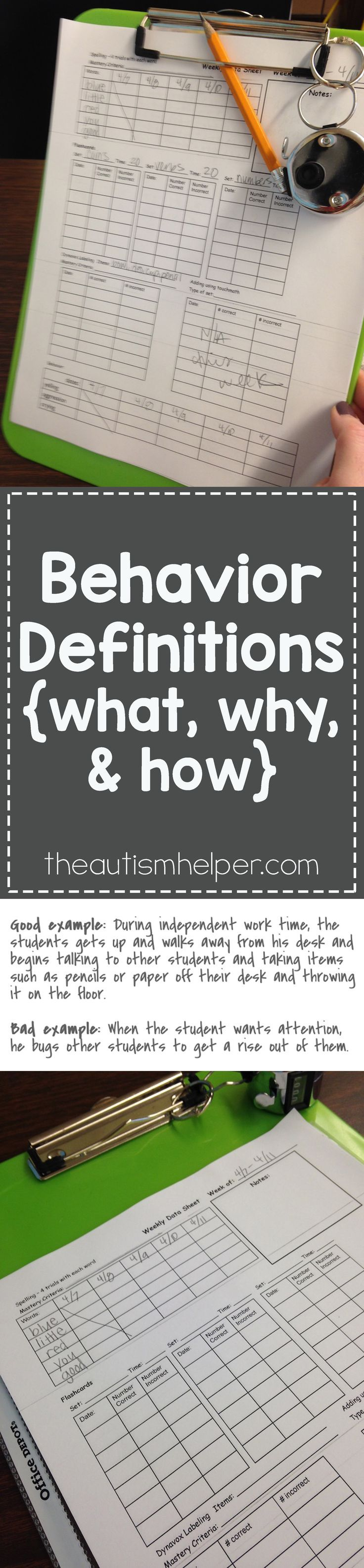 Because behavior is so subjective - we need to create & write out a very specific behavior definition so behaviors are counted consistently & equally by all staff. So let's break down the specifics of making a great behavior definition! From http://theautismhelper.com #theautismhelper