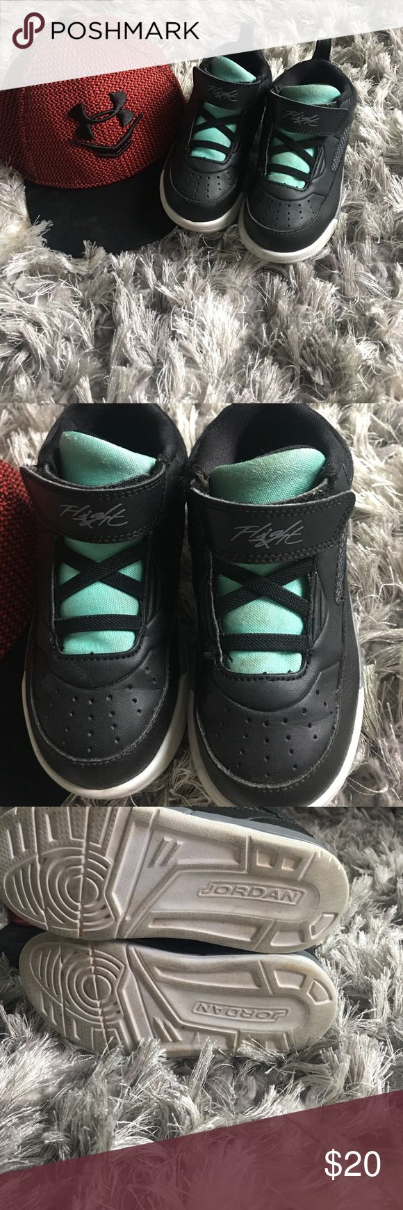 Jordan flights (toddler) The coolest Jordan flight shoes black leather with contrasting aqua! Excellent condition almost no wear. Air Jordan Shoes Sneakers