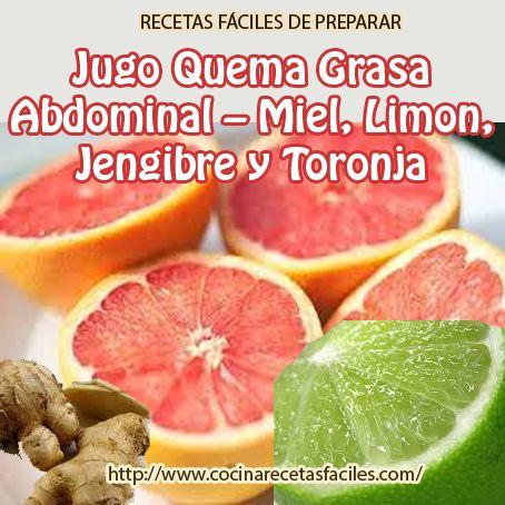 Recetas fáciles: Jugo quema grasa abdominal- Miel,limón,jengibre y toronja