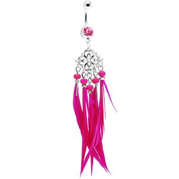 $8.99 #piercing #Bodycandy #pink Pink Gem Southwestern Chandelier Feather Belly Ring