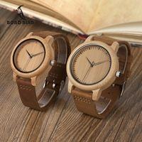 Бобо птица A15L19 женские часы Бамбук Деревянные часы реальный кожаный ремешок кварцевые часы в качестве подарка для дам oem Relogio
