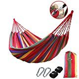 B1ST Upgraded Double Outdoor Hammocks Thick Canvas Cotton Portable Nylon Parachute Hammock 2*1.5M(6.6*1.95 Ft) for Light Travel, Camping, Hiking, Backpacking with Tree Straps and Carabiners   A durable,comfortable double Collapsible hammock.include Hammock Tree Straps With metal buckle ,and...