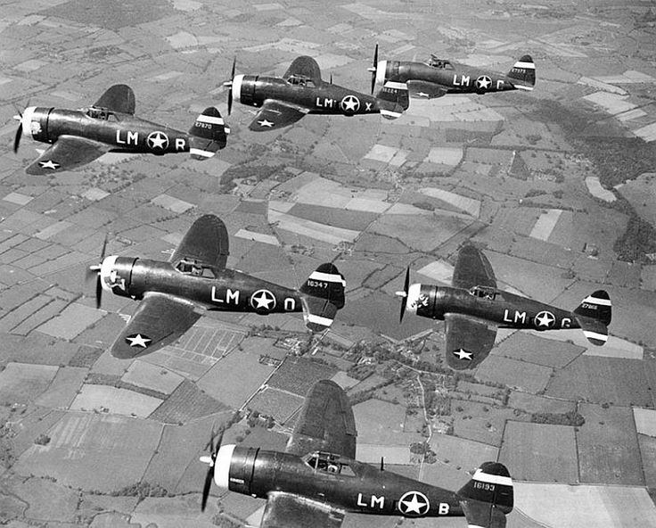 Thunderbolts of the 62nd Fighter Squadron, 1943, based at RAF Horsham St Faith, Norfolk, England