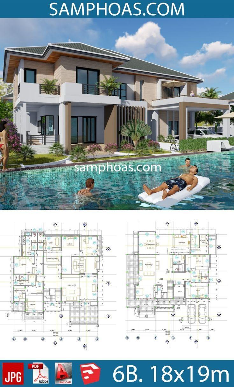 6 Bedrooms Home Design Plan 18 5x19 5m Plan Construction Maison Plan Maison Architecte Architecture De Maison