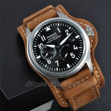 47mm Parnis Watch Big Pilot Black Dial Watch Power Reserve Chronometer Seagull 2530 Automatic Mens Watch Relogio Masculino(China (Mainland))
