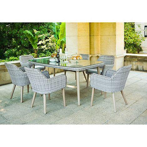 Debenhams Grey Rattan Effect Palmira Garden Table And 6 Chairs