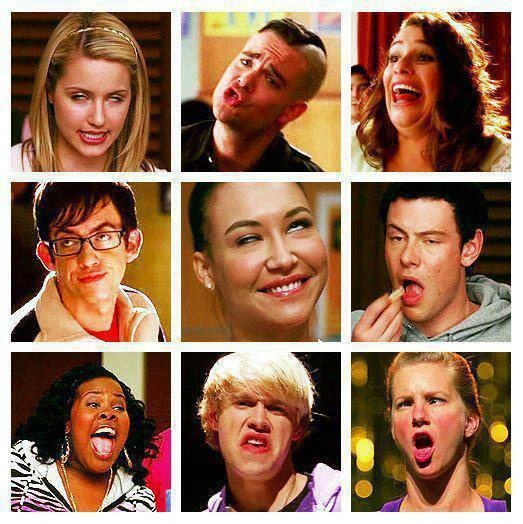 Glee derps. Oh my goodness! The Brittany one is my favorite. You can totally see it during the performance. You don't even have to pause it. I laugh every time.