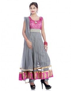 Pink Net Gorgeous Grey Anarkali Suit For Women