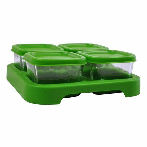 """Green Sprouts 4 Pack Glass Baby Food Storage Cubes, Green (715418046563) Since 1982,  i play,  Inc has been developing bibs and feeding accessories to meet the needs of babies as they grow and develop through infancy Freeze or refrigerate fresh homemade baby food for later Tray holds four 2 ounce cubes of puree; Lids interchange with Polypropylene Freezer cubes and snap securely for easy to go storage Tray is stackable with glass or polypropylene cubes Size: 5.7"""" x 5.7"""" (14.4 x 14.4 cm)"""