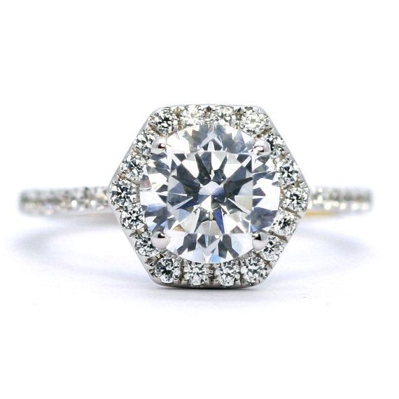 Moissanite Engagement Ring Unique Hexagon by MondiFineJewelry
