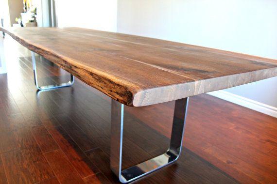 salvaged live edge harvest table black walnut custom metal legs chrome modern design on Etsy, $5,200.00