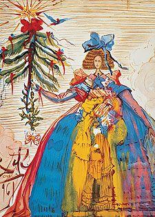 """Dalí: Felicitación de Navidad, 1961 (con la infanta Margarita de """"Las meninas"""")"""