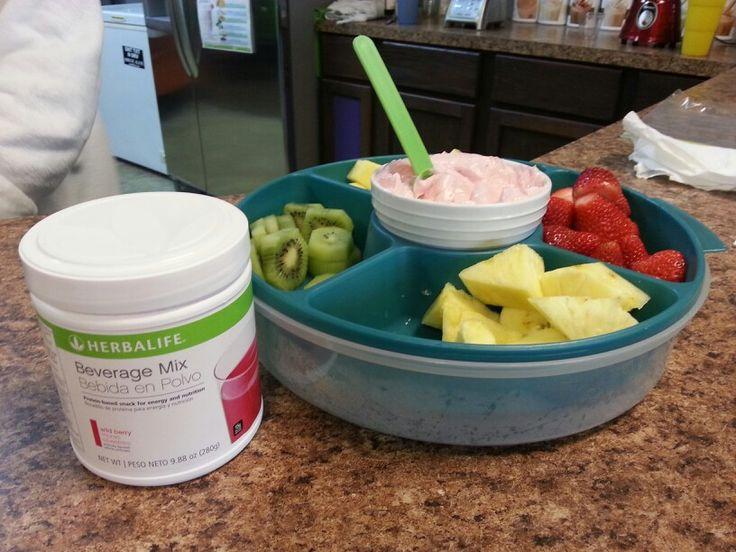 Fruit dip! 2 scoops berry beverage mix, 1 single container of Greek yogurt and 1 (8oz.) Less fat cream cheese. Mix and serve with fruit. Herbalife more than shakes!  Suzan.smith64@gmail.com