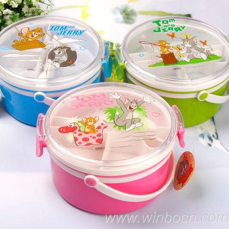 Hot vente 2013& jeunesse, tom jerry plastique sans bpa déjeuner bento box 3 couleurs voyage récipient de