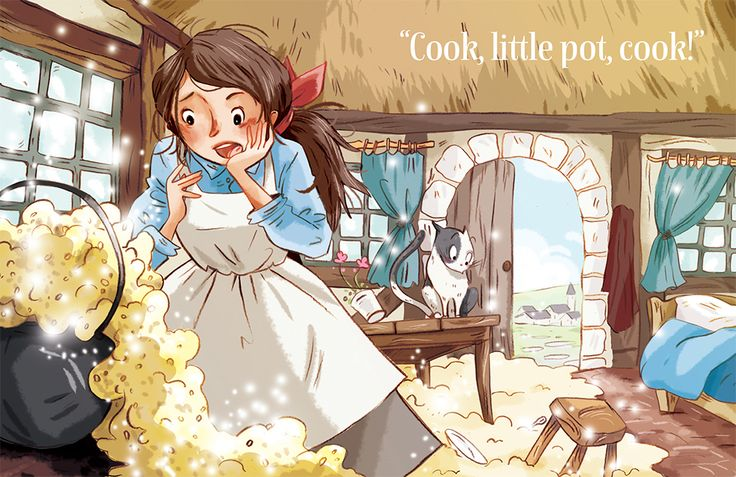 The Magic Porridge Pot fairytale in Storytime with awesome illustration by Ariane Delrieu