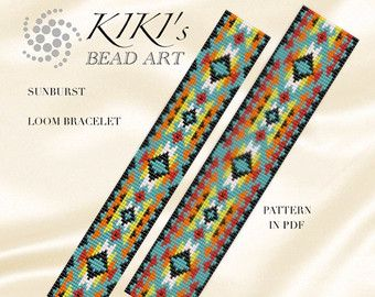 Bead loom pattern for bracelet Ethnic sun loom door KikisBeadArts