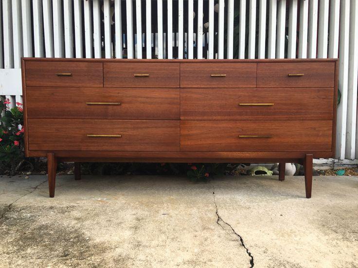 Mid Century Modern Walnut Dresser By Detroit Furniture Distributing Co.