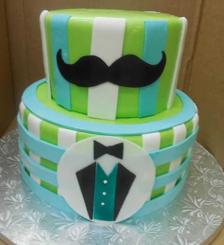 Calumet Bakery Boyu0027s Baby Shower Cake With Mustache Theme · Pasteles Para  ...