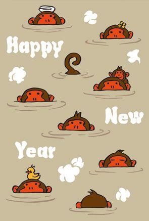 【申年】年賀状|落ち着いた色合いの温泉お猿さんイラストサムネイル