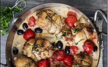 Fyldte kyllingelår med timian og tomat