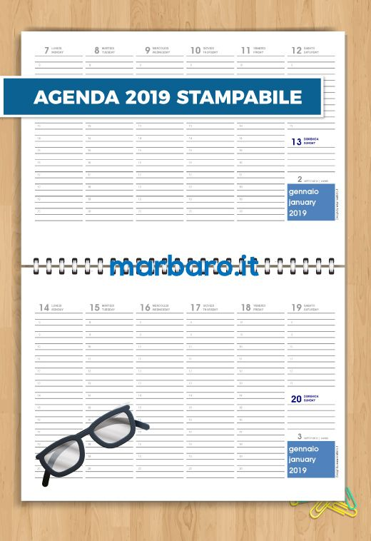 Calendario Annuale Da Stampare 2019.Agenda Planning 2019 Da Stampare Home E Organizzazione