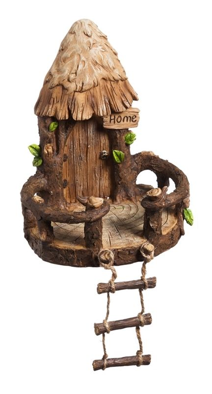 Little People Fairy Treehouse Part - 40: Fairy Tree House With Ladder For Miniature Gardens - EXCLUSIVE