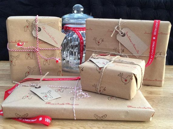 Handmade Hand Stamped Vintage Style Christmas Wrapping Paper, Brown / Kraft Paper, Reindeer or Bird Design on Etsy, £2.00
