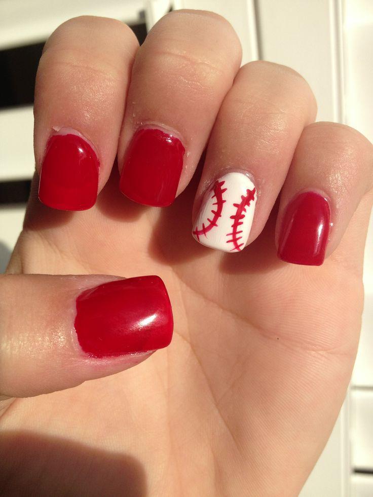 25+ best ideas about Baseball nail designs on Pinterest   Softball ...