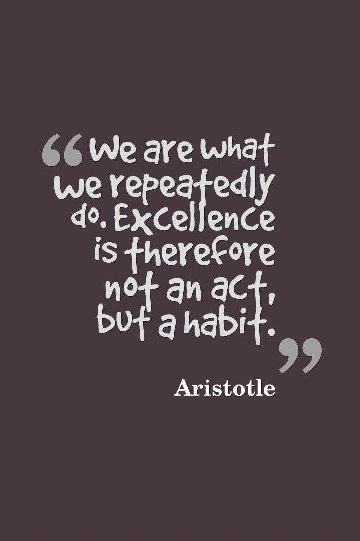 """""""We are what we repeatedly do. Excellence is therefore not an act, but a habit."""" — Aristotle"""