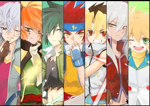 From left to right, Hyoma, Nile, Kyoya, Gingka, Sora, Tsubasa, and Yu