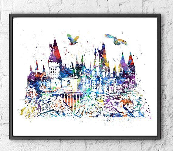 Hogwarts Castle Watercolor Print, Harry Potter Art, Movie Poster, Watercolor…