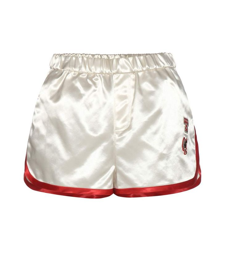 TOMMY HILFIGER Satin shorts with appliqué. #tommyhilfiger #cloth #shorts
