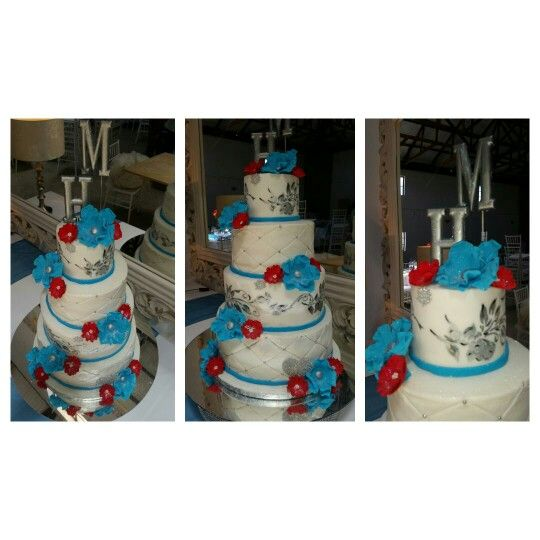 White, red and teal wedding cake created by Linda Mcloughlin