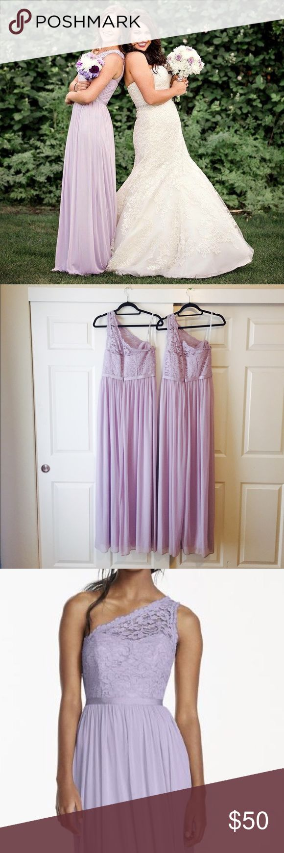 Gorgeous David's Bridal Bridesmaid Dress Beautiful one shoulder lace long bridesmaid dress. Lavender/iris. Worn Once and in perfect condition! David's Bridal Dresses Long Sleeve
