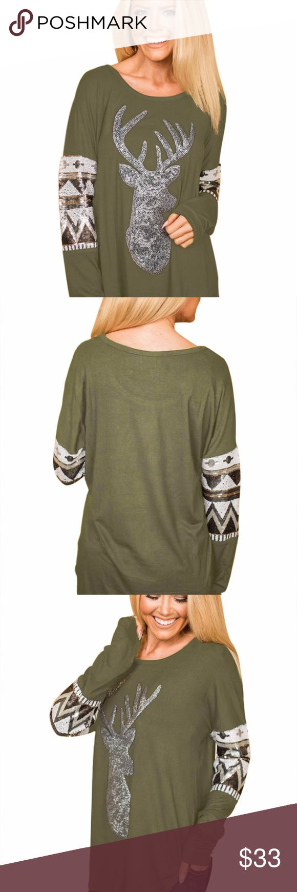 New! Loose Sequin Christmas Reindeer Top This lightweight Loose Sequin Christmas Reindeer Top is perfect for those carefree autumn days! Get this super comfy and festive top with sequin deer head and decorative sequin bands around the arm. Scoop neck, long sleeve and rounded hemline in a loose fit silhouette.   These run really big so Small is more like Medium, Medium like a Large and Large like XL  Fast shipping 5***** seller buy with confidence Smoke Free Pet Free Home <3 Tops Tees - Long…
