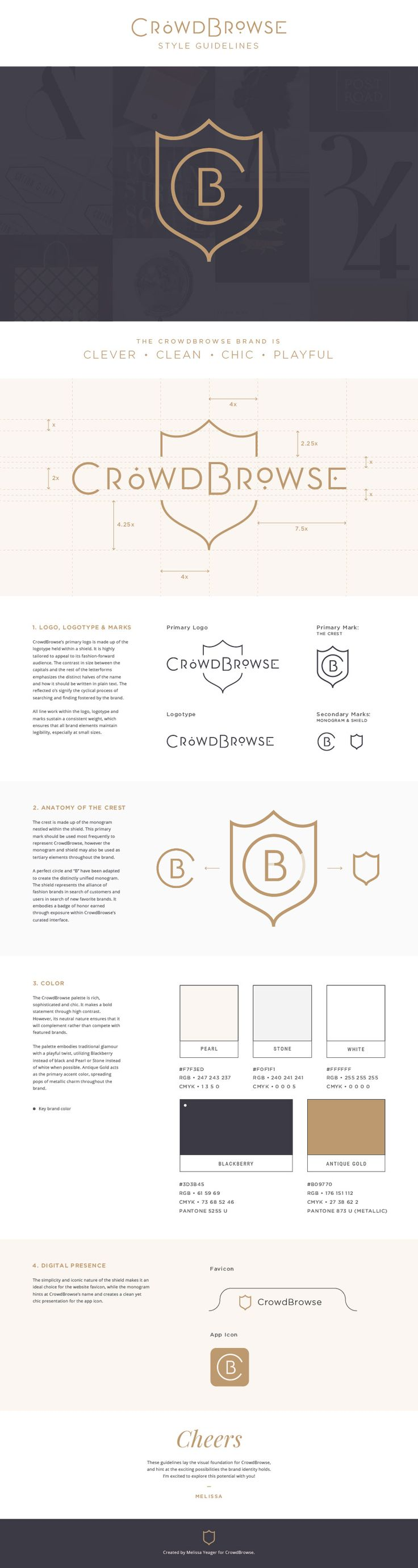 CrowdBrowse logo design & brand guidelines - Melissa Yeager