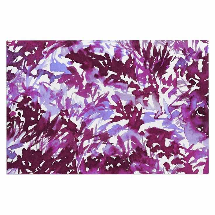 """Ebi Emporium """"In The Meadow 3 - Plum Purple """" White Lavender Decorative Door Mat"""