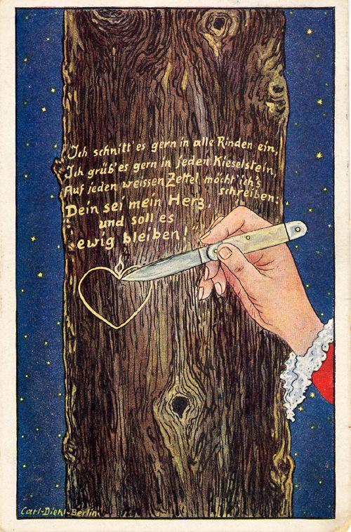 Wilhelm Müller, Ungeduld, Ich schnitt es gern in alle Rinden ein, Maler Carl Diehl Berlin, Verlag Albert Fink, Berlin