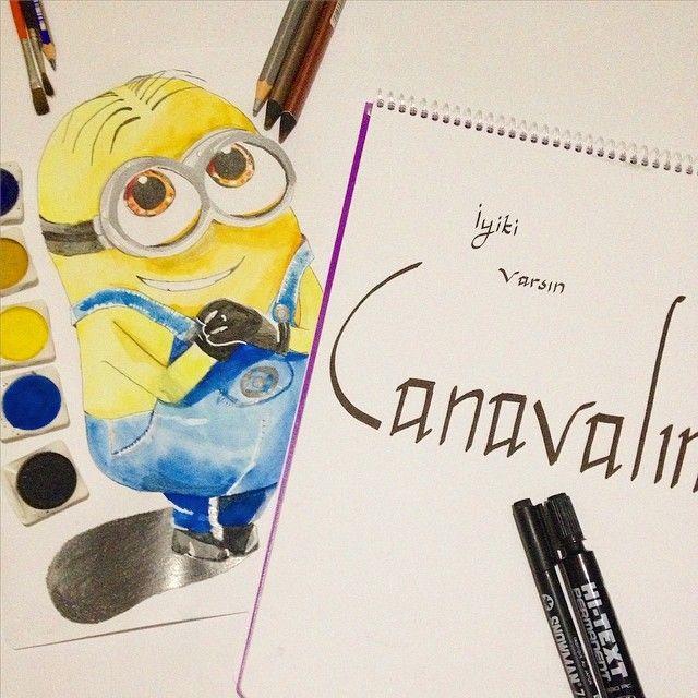 minions minyonlar sarı çizim resim suluboya gözlük mavi tulum çılgın hırsız
