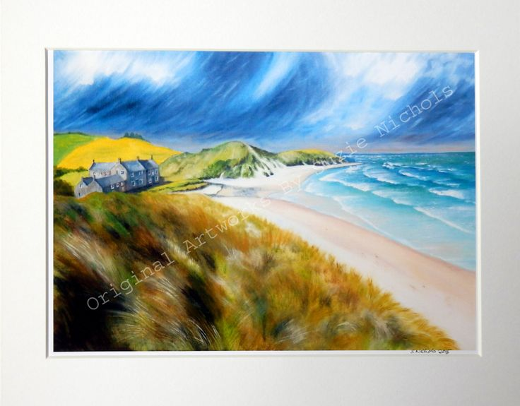 Northumberland Giclee Print- A4 Quality Mounted Giclee Print of a Northumberland Beach - by Suzie Nichols (art, painting, uk) - pinned by pin4etsy.com